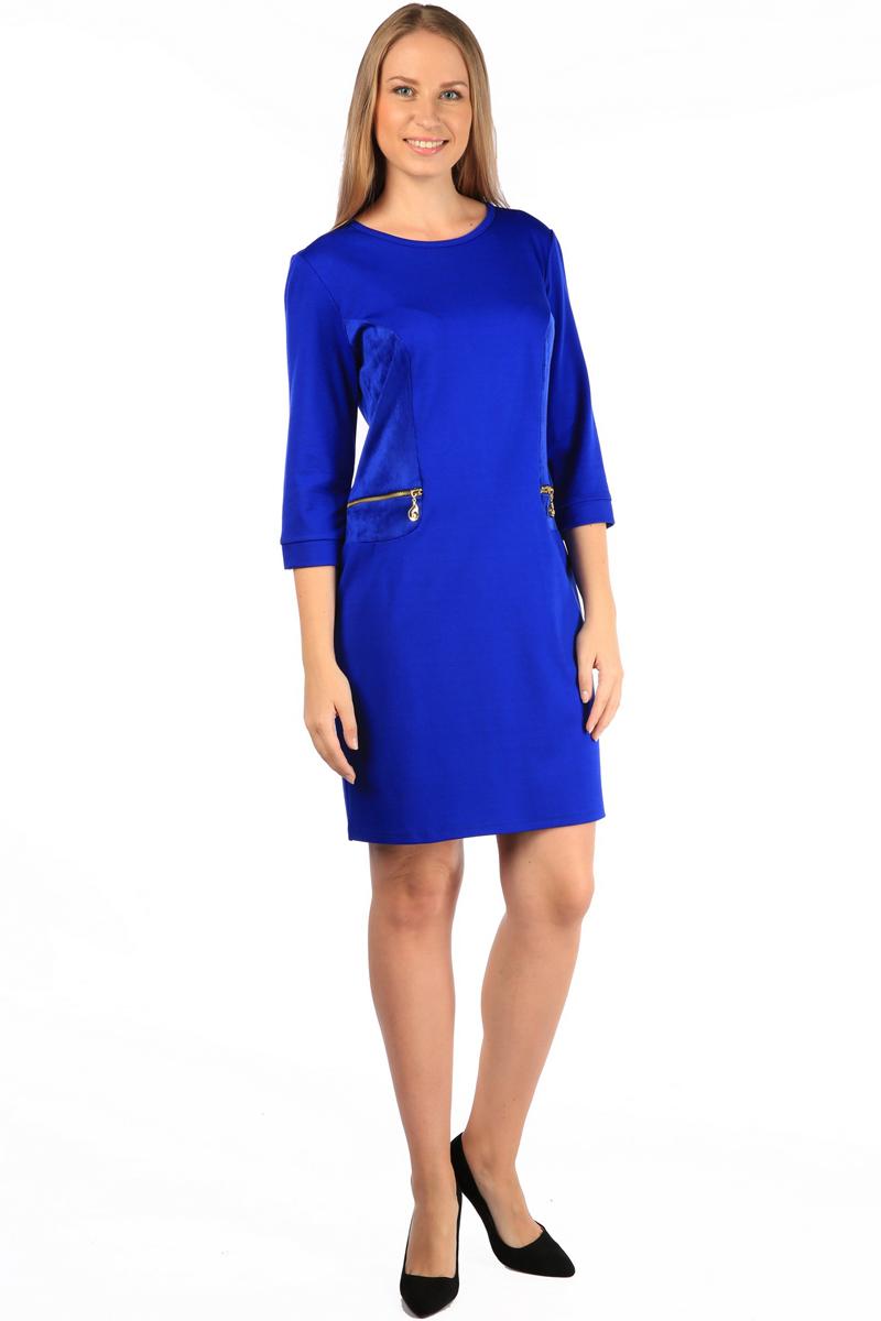 Платье Milton, цвет: синий. WD-2505F. Размер 50WD-2505FПлатье полуприлегающего силуэта, с рукавами длиной 1/2, с деталями отделки из искуственной замши. На полочках обработаны обманки-карманы с металлическими молниями.