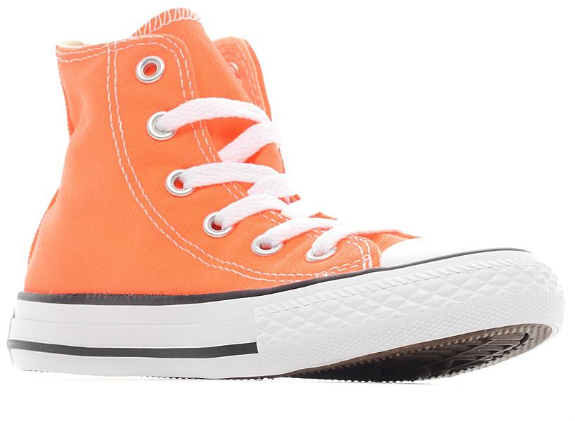 Кеды детские Converse Chuck Taylor All Star, цвет: оранжевый. 355739. Размер 2,5 (34)355739Стильные высокие детские кеды Chuck Taylor All Star от Converse приведут в восторг вашего ребенка! Кеды выполнены из плотного текстиля и оформлены контрастной прострочкой. Мыс защищен резиновой накладкой. Классическая шнуровка на подъеме надежно фиксирует обувь на ноге. Стелька и подкладка из мягкого текстиля комфортны при ходьбе. Подошва исполнена из износостойкой резины. Рифление на подошве обеспечивает идеальное сцепление с любыми поверхностями. Эффектные кеды помогут создать яркий, динамичный образ.