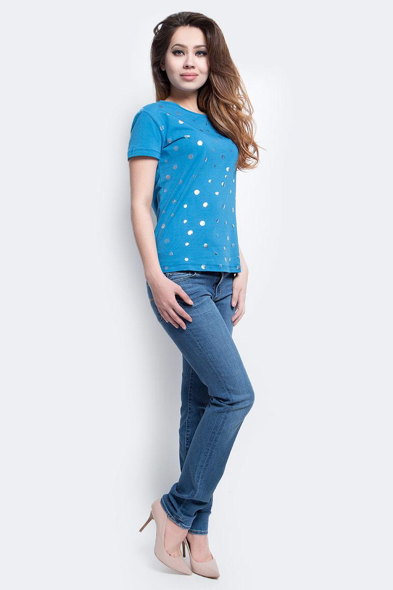 Футболка женская Finn Flare, цвет: синий. S17-11058_115. Размер XL (50)S17-11058_115Футболка женская Finn Flare выполнена из хлопка и эластана. Модель с круглым вырезом горловины и короткими рукавами.