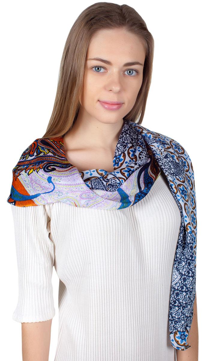 Палантин Sophie Ramage, цвет: синий, белый, оранжевый. YY-11714-37. Размер 90 см х 180 смYY-11714-37Яркий палантин Sophie Ramage изготовлен из модала и шелка. Модель оформлена оригинальным принтом. Изделия Sophie Ramage приятные на ощупь и подойдут к любому стилю.