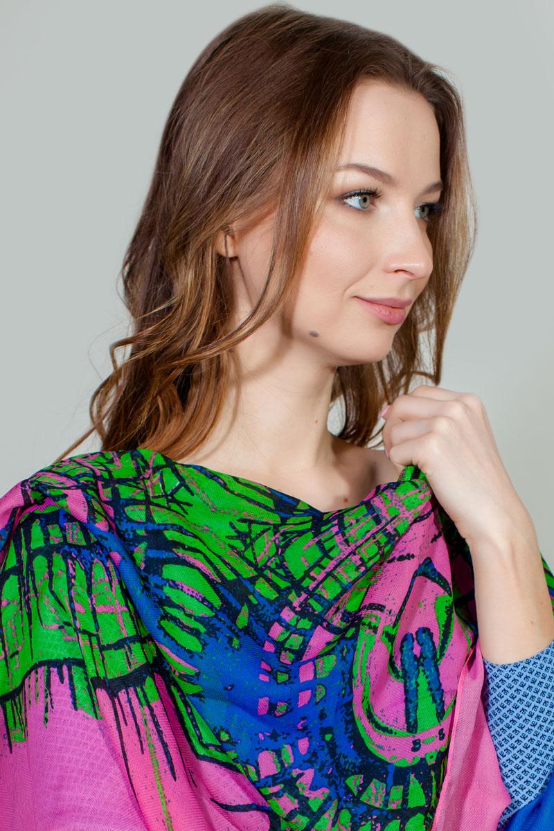Палантин Sophie Ramage, цвет: синий, зеленый, розовый. YY-11722-1. Размер 90 см х 180 смYY-11722-1Яркий палантин Sophie Ramage изготовлен из модала и шелка. Модель оформлена оригинальным принтом. Изделия Sophie Ramage приятные на ощупь и подойдут к любому стилю.