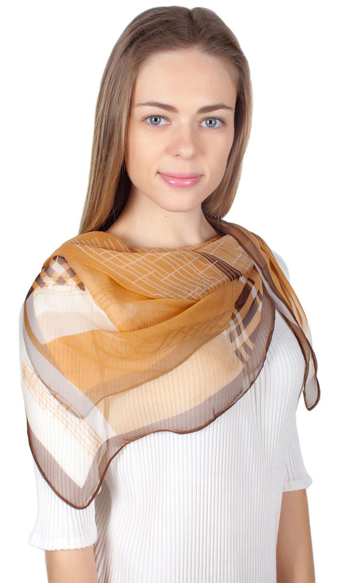 Платок женский Sophie Ramage, цвет: коричневый, бежевый, оранжевый. YY-11730-29. Размер 110 см x 110 смYY-11730-29Яркий платок Sophie Ramage изготовлен из шелка и полиэстера. Модель оформлена оригинальным принтом. Изделия Sophie Ramage приятные на ощупь и подойдут к любому стилю.