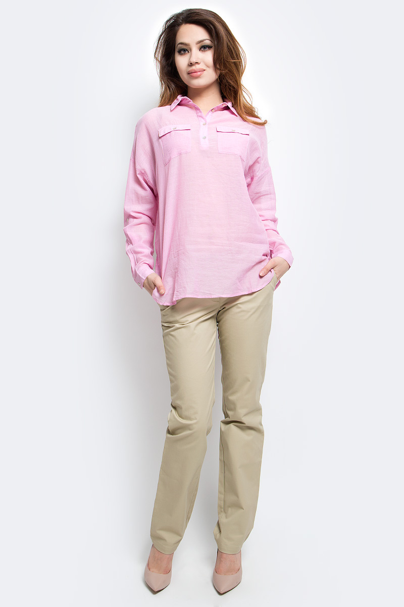 Блузка женская Finn Flare, цвет: розовый. S17-14077_324. Размер L (48)S17-14077_324Блузка женская Finn Flare выполнена из 100% хлопка. Модель с отложным воротником и длинными рукавами застегивается на пуговицы.