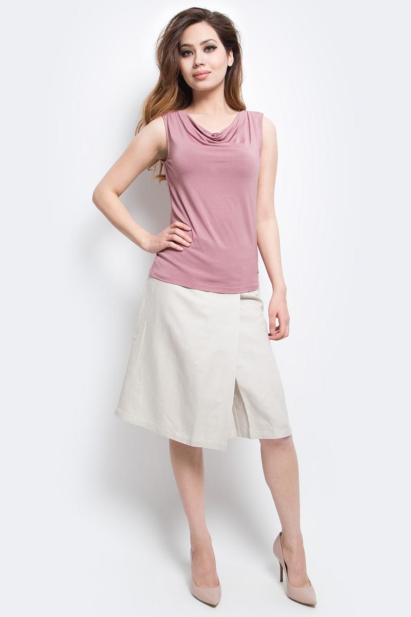 Майка женская Finn Flare, цвет: серо-розовый. S17-11087_824. Размер L (48)S17-11087_824Майка женская Finn Flare выполнена из вискозы и эластана. Модель с круглым вырезом горловины.