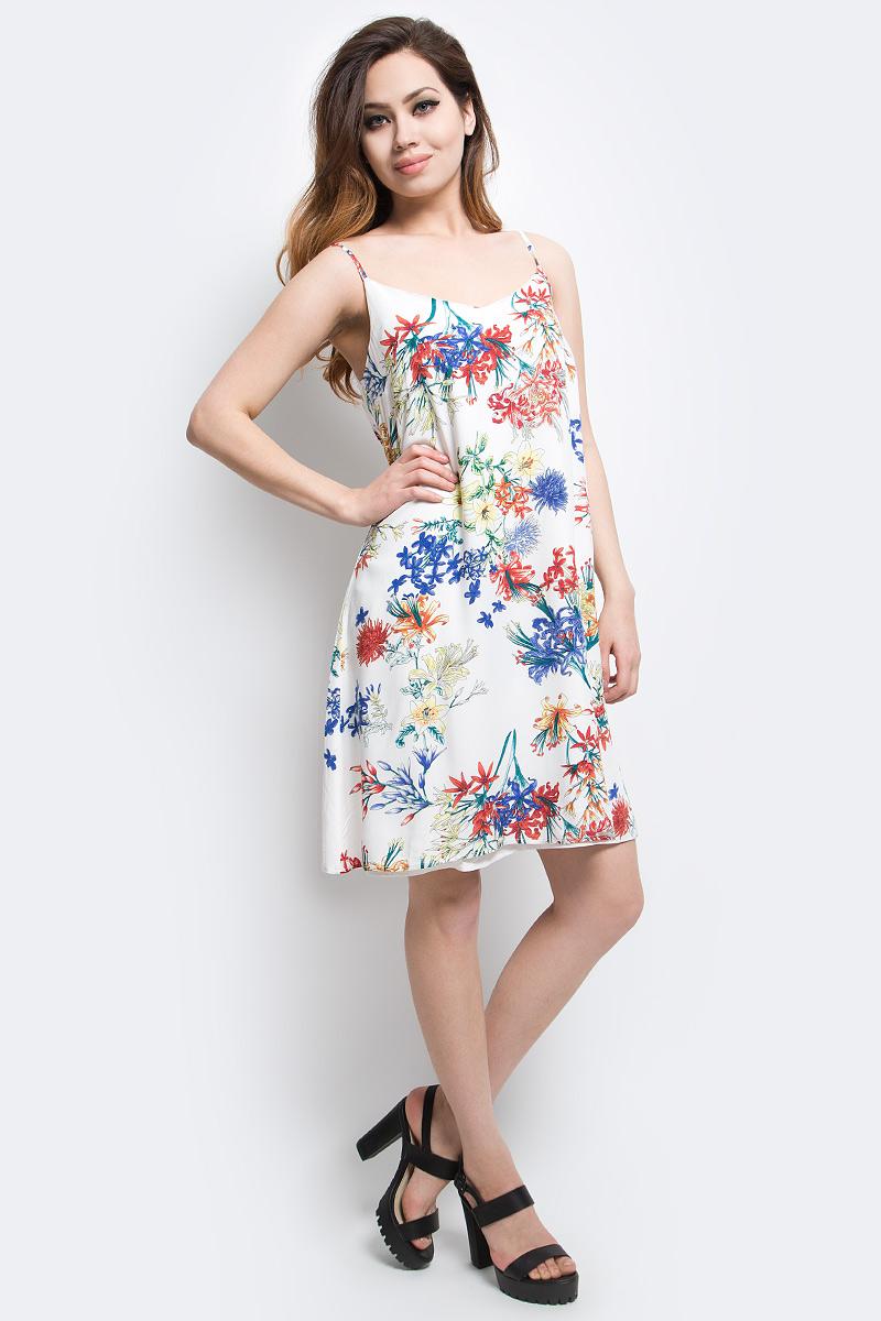 Платье Finn Flare, цвет: белый. S17-11065_201. Размер S (44)S17-11065_201Платье Finn Flare выполнено из 100% вискозы. Модель на бретельках оформлена оригинальным принтом.