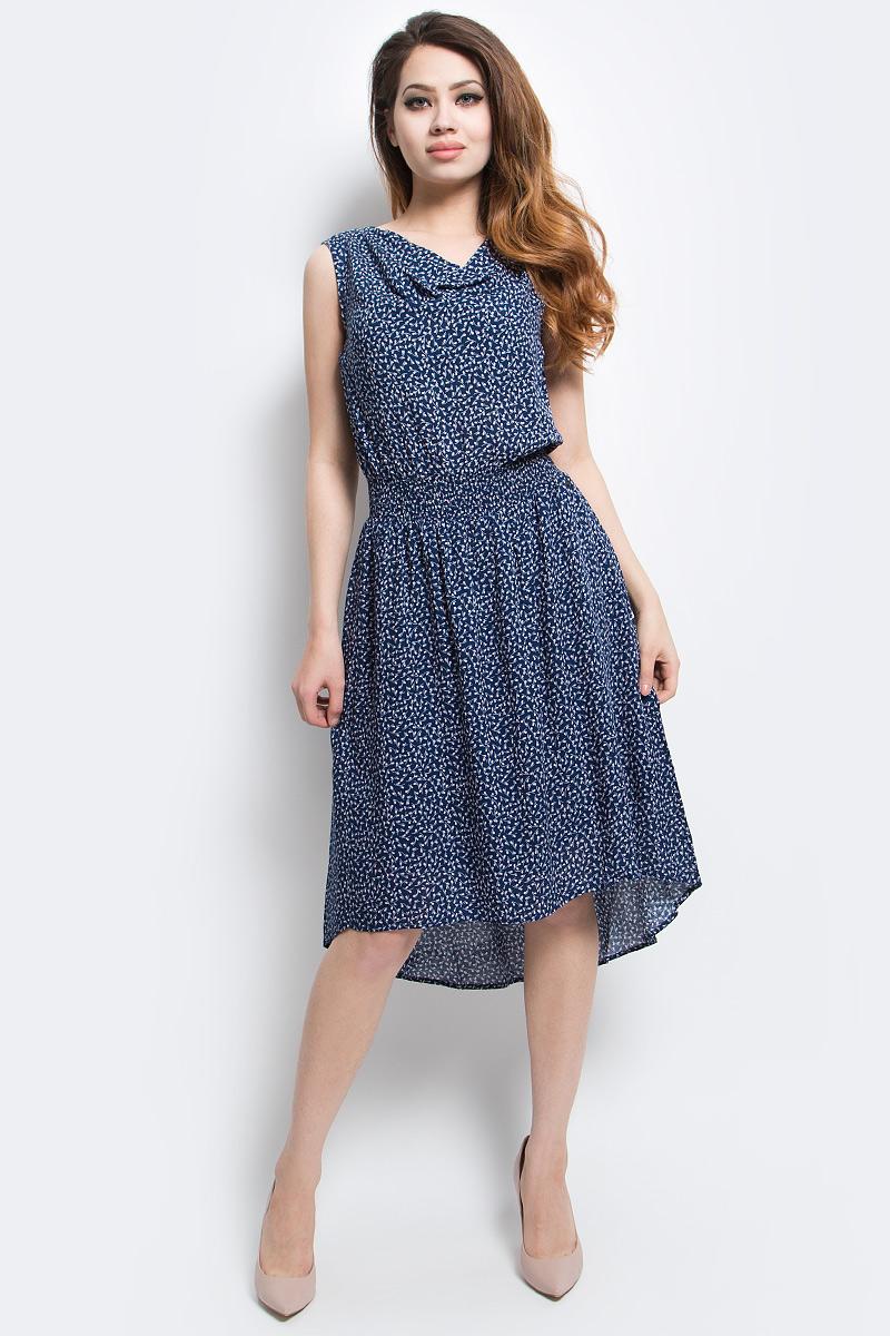 Платье Finn Flare, цвет: синий. S17-14044_107. Размер S (44)S17-14044_107Платье Finn Flare выполнено из вискозы. Модель без рукавов оформлена оригинальным принтом.