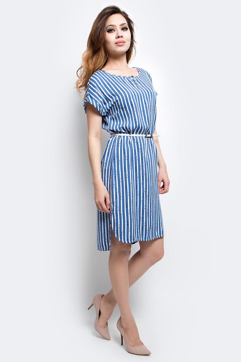 Платье Finn Flare, цвет: серо-голубой. S17-14020_105. Размер S (44)S17-14020_105Платье Finn Flare выполнено из вискозы. Модель с круглым вырезом горловины и короткими рукавами.