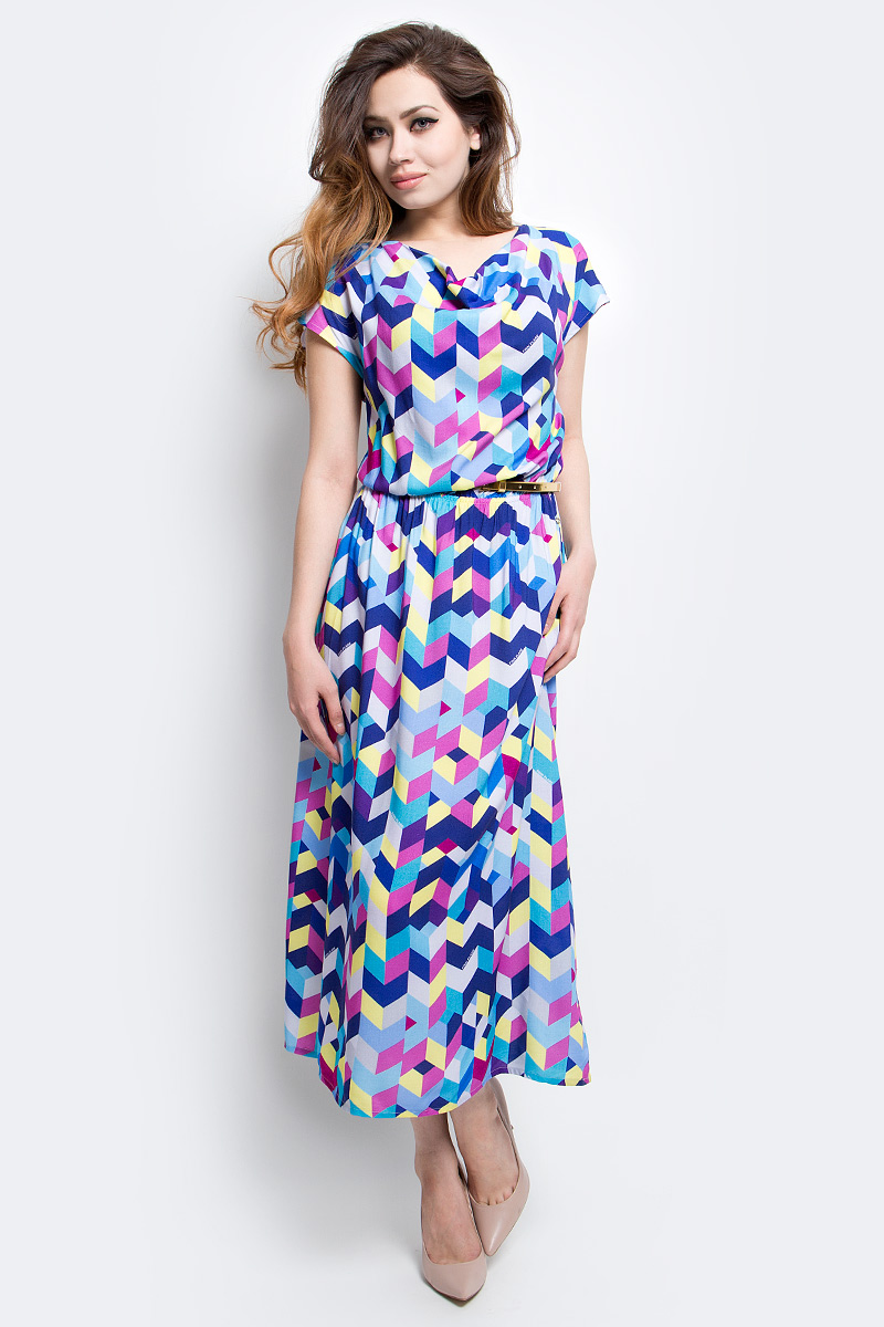 Платье Finn Flare, цвет: синий. S17-14056_107. Размер S (44)S17-14056_107Платье Finn Flare выполнено из вискозы. Модель оформлена оригинальным принтом.