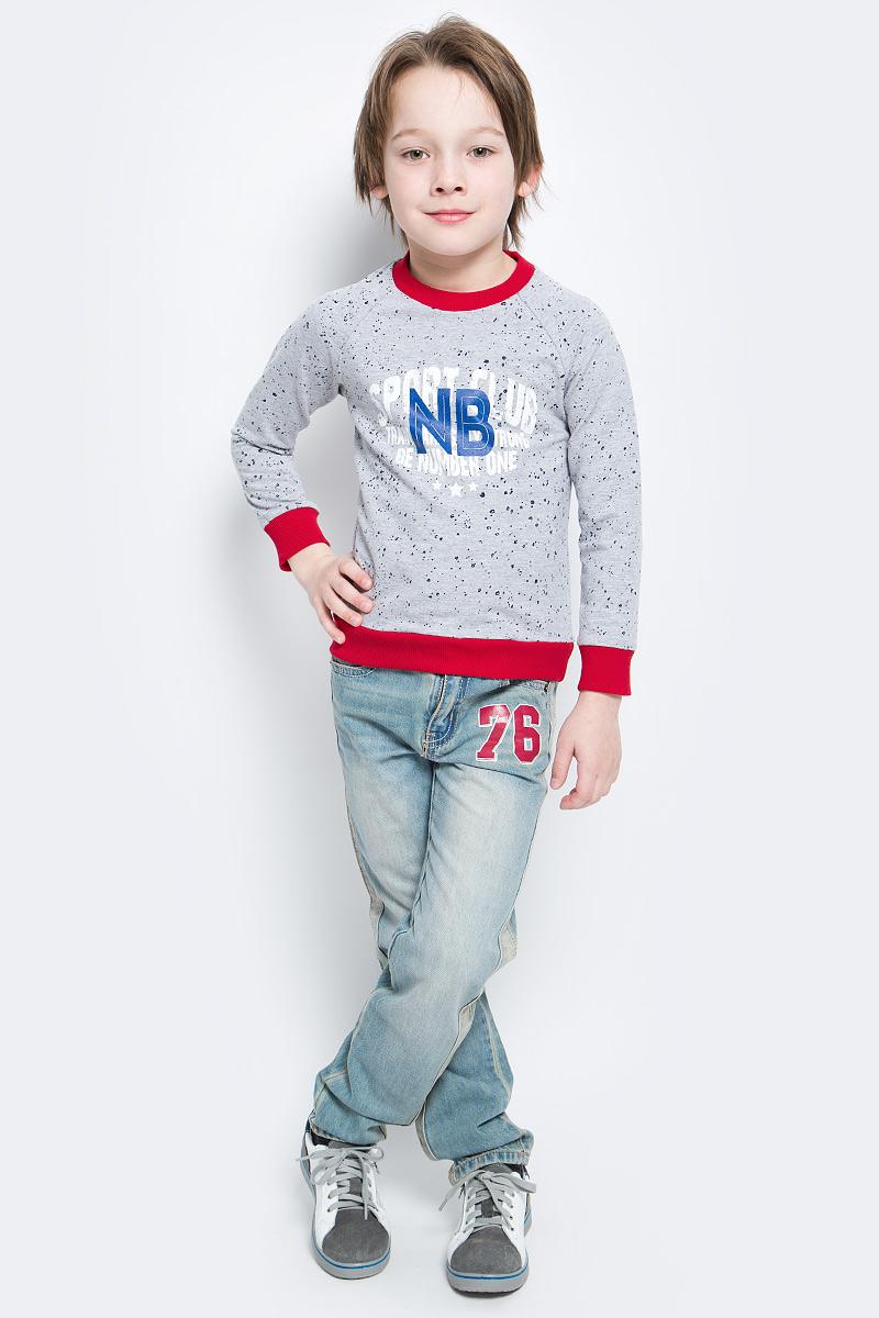 Свитшот для мальчика M&D, цвет: серый меланж, мультиколор. SJK17003M. Размер 104SJK17003MСтильный свитшот M&D для мальчика изготовлен из натурального хлопка с добавлением полиэстера и лайкры, он необычайно мягкий и приятный на ощупь, не сковывает движения ребенка и придает комфорт.Свитшот с длинными рукавами-реглан и круглым вырезом горловины оформлен оригинальным принтом с надписями. Вырез горловины, края рукавов и низ изделия дополнены трикотажными резинками.