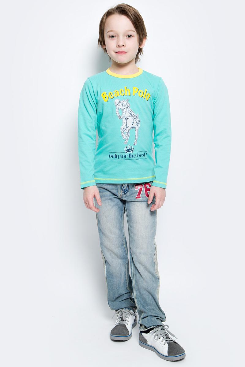 Лонгслив для мальчика M&D, цвет: мятный. WJF160052-87. Размер 128WJF160052-87Модный лонгслив для мальчика M&D выполнен из хлопка с добавлением лайкры.Модель с круглым вырезом горловины и длинными рукавами оформлена спереди оригинальным принтом. Вырез горловины дополнен трикотажной резинкой.