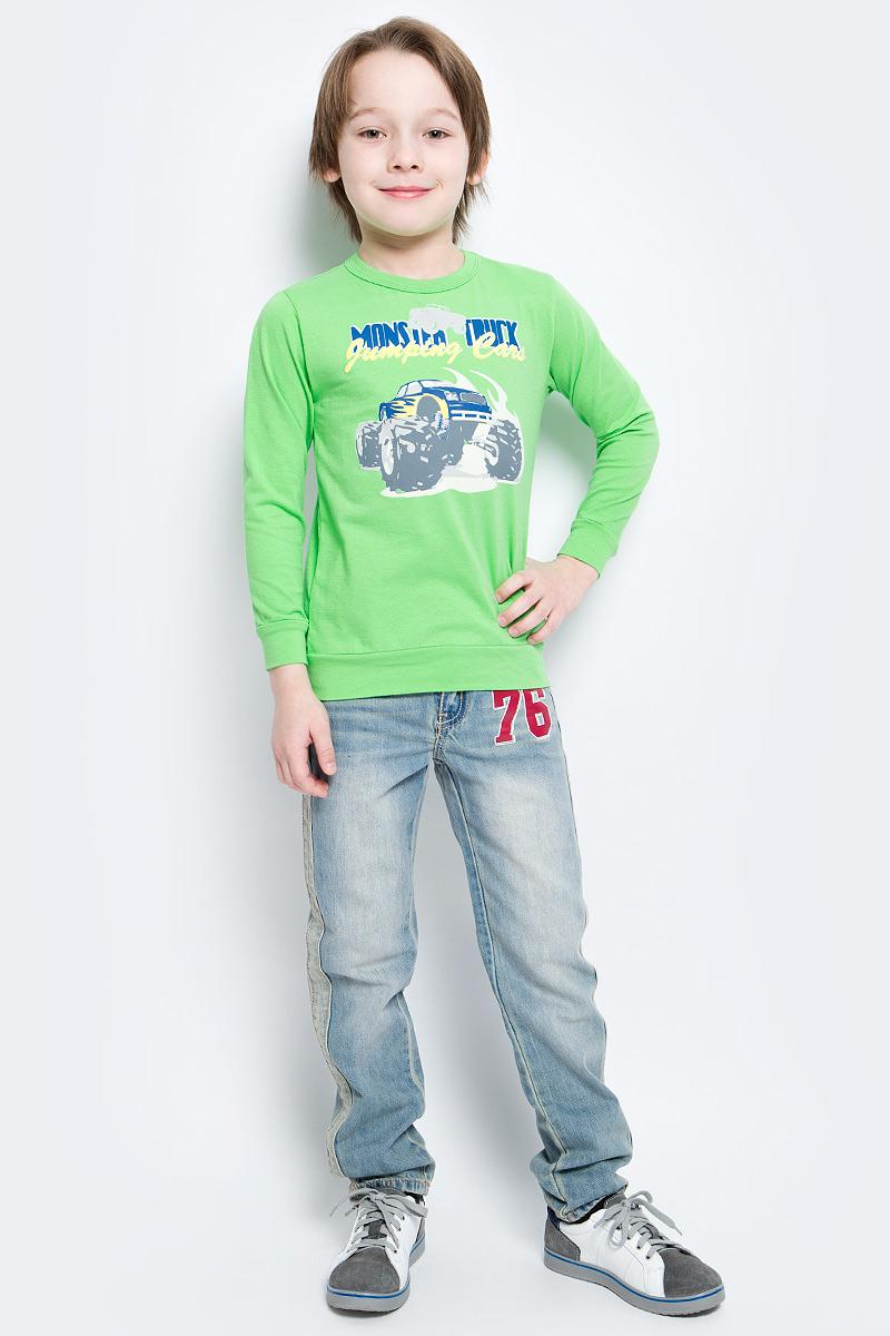 Свитшот для мальчика M&D, цвет: салатовый. SSF162K32-14. Размер 134SSF162K32-14Свитшот для мальчика M&D сделает образ ребенка ярким и оригинальным. Изделие выполнено из мягкого эластичного хлопка, тактильно приятное, не сковывает движения и хорошо пропускает воздух, обеспечивая комфорт. Свитшот с длинными рукавами имеет круглый вырез горловины, оформленный трикотажной резинкой. На рукавах предусмотрены манжеты. По низу модель дополнена трикотажной вставкой. Изделие украшено термоаппликацией в виде автомобиля и надписей.Современный дизайн и расцветка делают этот свитшот ярким и модным предметом детской одежды. Обладатель такого свитшота всегда будет в центре внимания!