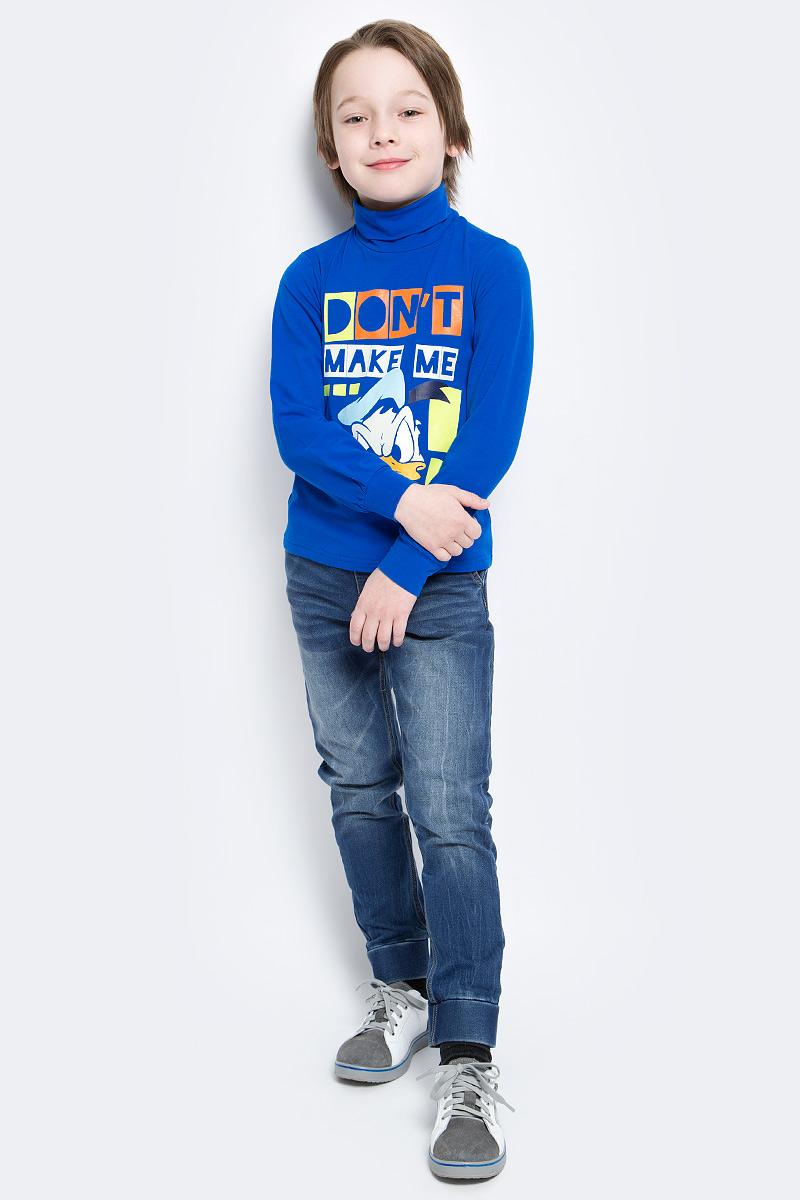 Водолазка для мальчика PlayToday Disney, цвет: синий. 541002. Размер 110, 5 лет541002Водолазка для мальчика PlayToday Disney изготовлена их хлопка и эластана. Модель выполнена с длинными рукавами, дополненными широкими манжетами и высоким воротом. Спереди изделие оформлено ярким термопринтом.