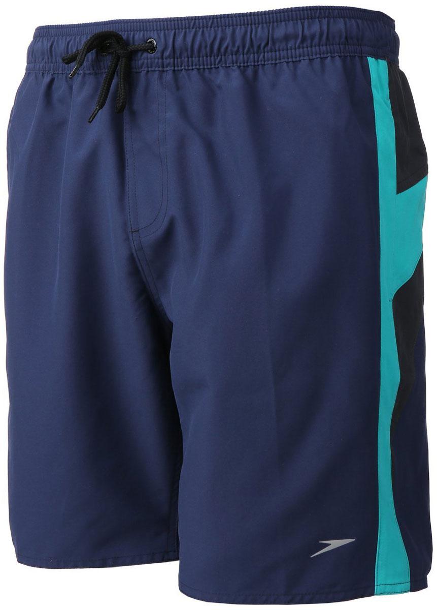 Шорты для плавания мужские Speedo Logo Yoke Splice 18 Watershort, цвет: темно-синий. 8-09681B466-B466. Размер M (48/50)8-09681B466-B466Мужские шорты для плавания Speedo Logo Yoke Splice 18 Watershort изготовлены из быстросохнущего материала. Легкая и прочная ткань со специальной обработкой позволяет шортам быстро высыхать после намокания, не сковывает свободу движений. Материал с бархатистым эффектом имеет приятные тактильные свойства. Сетчатая несъемная вставка в виде трусов-слипов обеспечивает необходимую циркуляцию воздуха. Эластичный пояс с затягивающимся шнурком позволяет отрегулировать посадку точно по фигуре. По бокам расположены два прорезных кармана с системой слива воды, подкладка которых выполнена из сетки. Изделие оформлено контрастными вставками, украшено вышитыми надписями, содержащими название бренда.Такие шорты - идеальный выбор для отдыха, купания и активных игр на пляже. В них вы всегда будете чувствовать себя уверенно и комфортно!