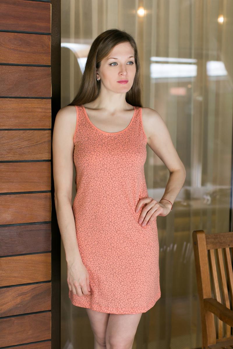 Платье домашнее Violett, цвет: оранжевый. 17110522. Размер M (46)17110522Домашнее платье Violett выполнено из натурального хлопка. Платье-миди с круглым вырезом горловины и без рукавов оформлено стильным принтом.