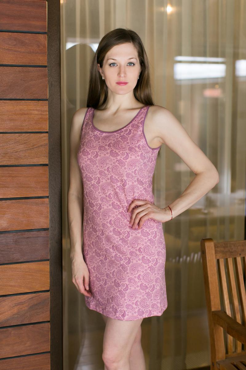 Платье домашнее Violett, цвет: розовый. 17110522. Размер XXXL (54)17110522Домашнее платье Violett выполнено из натурального хлопка. Платье-миди с круглым вырезом горловины и без рукавов оформлено стильным принтом.