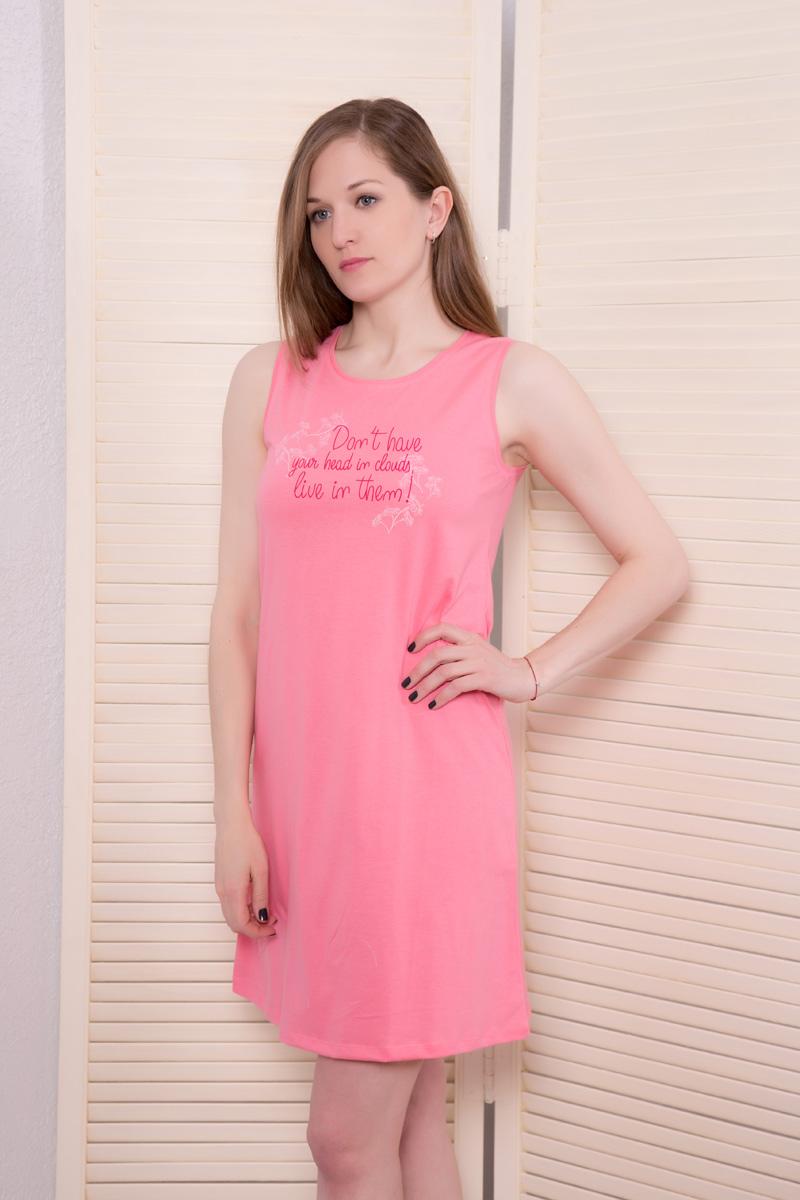 Платье домашнее Violett, цвет: розовый. 17110524. Размер L (48)17110524Домашнее платье Violett выполнено из натурального хлопка. Платье-миди с круглым вырезом горловины и без рукавовоформлено стильным принтом.