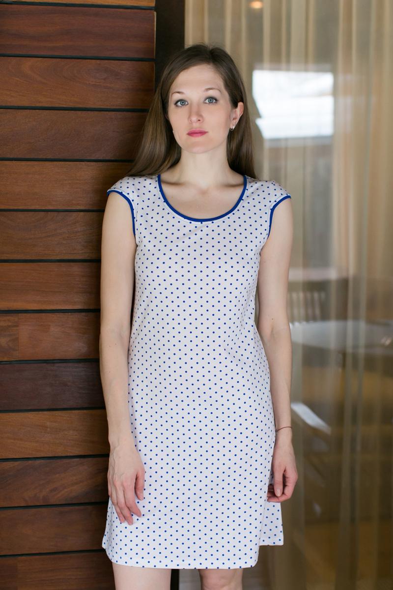 Платье домашнее Violett, цвет: белый, синий. 17110732. Размер XXXL (54)17110732Домашнее платье Violett выполнено из натурального хлопка. Платье-миди с круглым вырезом горловины и короткими рукавами оформлено стильным принтом.