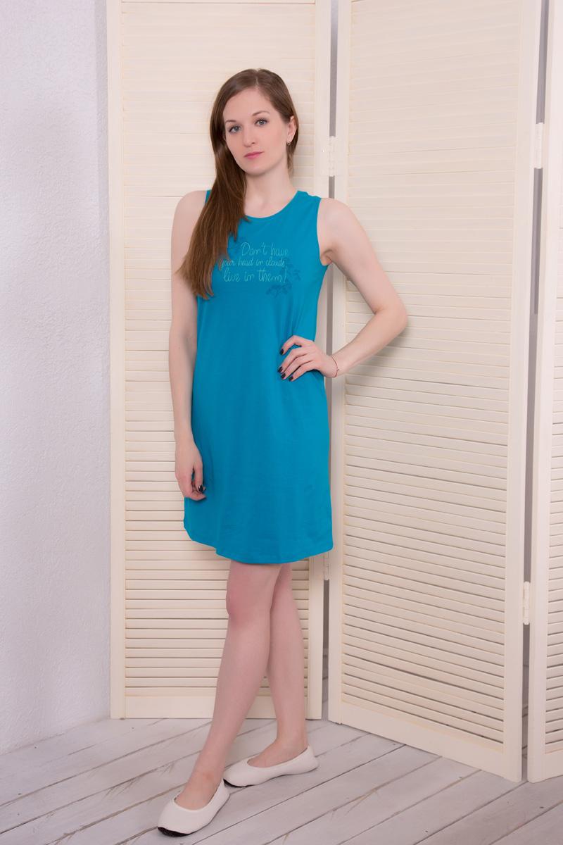 Платье домашнее Violett, цвет: темно-бирюзовый. 17110524. Размер M (46)17110524Домашнее платье Violett выполнено из натурального хлопка. Платье-миди с круглым вырезом горловины и без рукавовоформлено стильным принтом.
