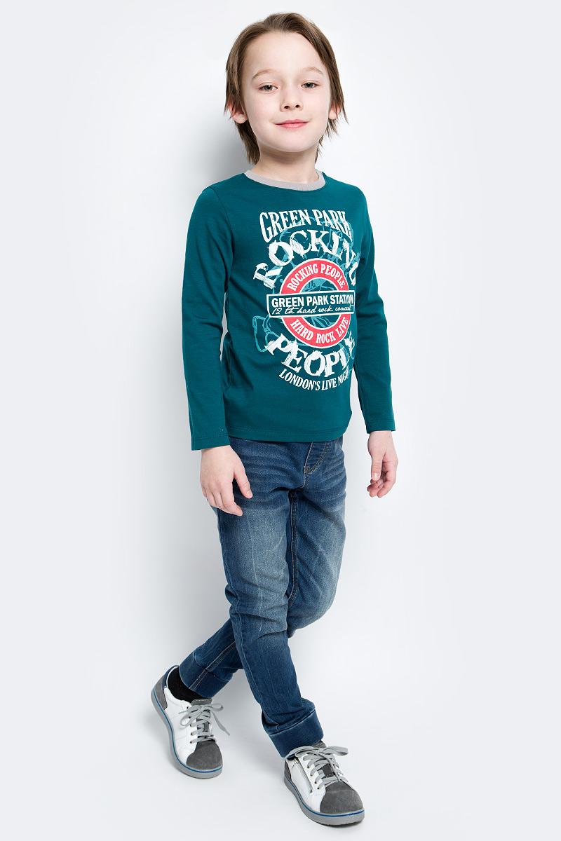 Лонгслив для мальчика БЕМБІ, цвет: зеленый. ФБ393С0275. Размер 140ФБ393С0275Лонгслив для мальчика БЕМБІ изготовлен их хлопка с добавлением эластана. Модель выполнена с круглой горловиной и длинными рукавами. Спереди изделие оформлено ярким принтом, ворот оформлен резинкой контрастного цвета.