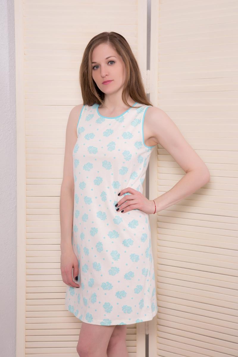 Платье домашнее Violett, цвет: молочный, мятный. 17110523. Размер XL (50)17110523Домашнее платье Violett выполнено из натурального хлопка. Платье-миди с круглым вырезом горловины и короткими рукавами оформлено стильным принтом.