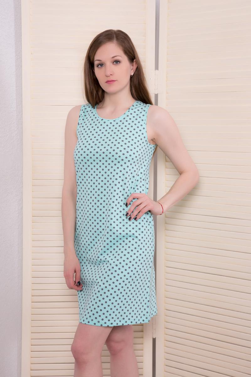 Платье домашнее Violett, цвет: ментоловый. 17110523. Размер S (44)17110523Домашнее платье Violett выполнено из натурального хлопка. Платье-миди с круглым вырезом горловины и короткими рукавами оформлено стильным принтом.