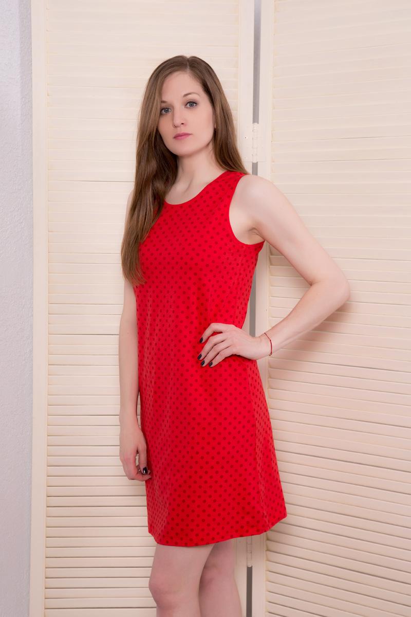 Платье домашнее Violett, цвет: красный. 17110523. Размер XL (50)17110523Домашнее платье Violett выполнено из натурального хлопка. Платье-миди с круглым вырезом горловины и короткими рукавами оформлено стильным принтом.