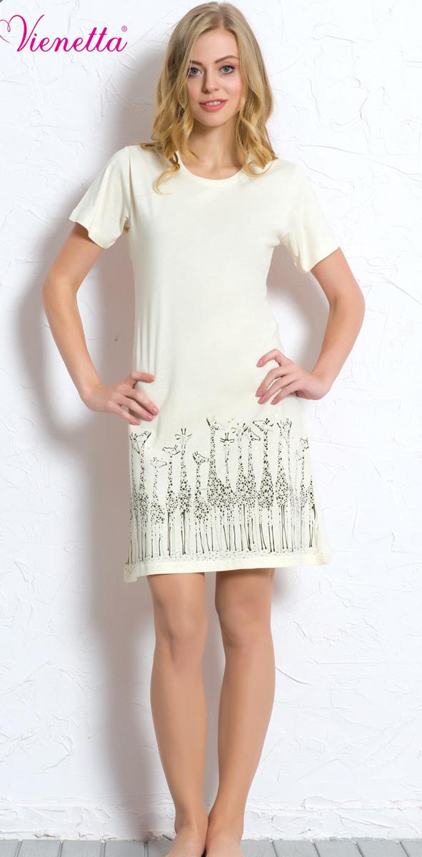 Платье домашнее Vienettas Secret, цвет: молочный. 608129 0000. Размер M (46)608129 0000Домашнее платье Vienettas Secret выполнено из 100% натурального хлопка. Изделие имеет круглый вырез горловины, короткие стандартные рукава и длину чуть выше колена. Модель прямого кроя не стесняет движений и комфортна для домашней носки. Подол дополнен изображением жирафов.