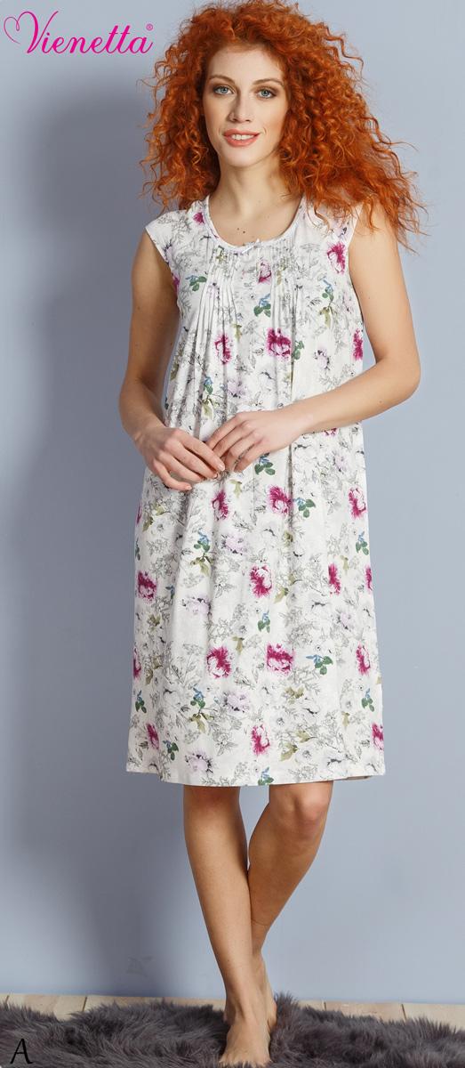 Платье домашнее Vienettas Secret, цвет: белый, фиолетовый. 610347 1303. Размер M (46)610347 1303Домашнее платье Vienettas Secret выполнено из 100% натурального хлопка. Изделие без рукавов имеет круглый вырез горловины и длину миди. Модель свободного кроя не стесняет движений и комфортна для домашней носки. Изделие дополнено цветочным принтом.