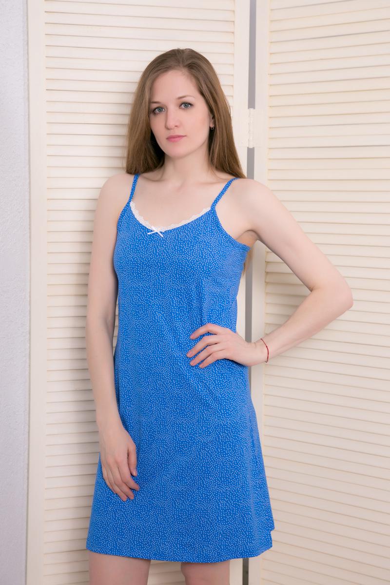 Платье домашнее Vienettas Secret, цвет: лазурный. 408123 4687. Размер L (48)408123 4687Домашнее платье Vienettas Secret выполнено из 100% натурального хлопка. Изделие на бретельках имеет глубокое декольте с круглым вырезом, украшенным кружевной вставкой, и длину мини. Модель не стесняет движений и комфортна для домашней носки. Платье дополнено принтом в мелкий горошек.