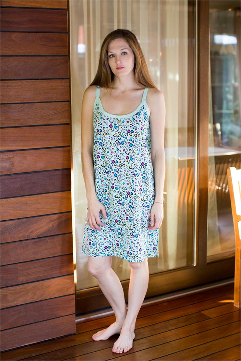 Платье домашнее Vienettas Secret, цвет: ментоловый. 411034 4016. Размер XXXL (54)411034 4016Домашнее платье Vienettas Secret выполнено из 100% натурального хлопка. Изделие на бретельках имеет декольте с круглым вырезом и длину мини. Модель свободного кроя не стесняет движений и комфортна для домашней носки. Платье дополнено ярким принтом.