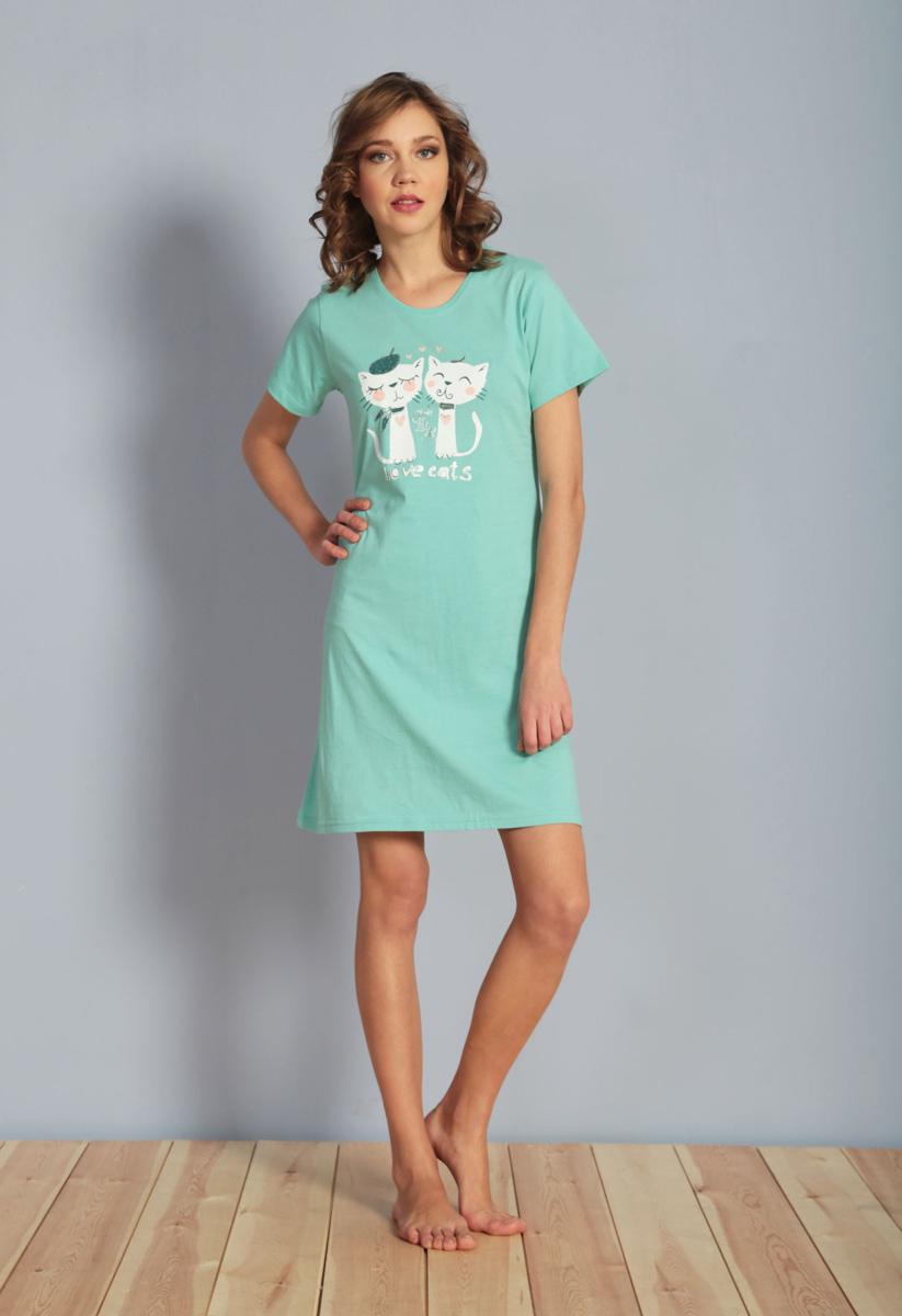Платье домашнее Vienettas Secret, цвет: ментоловый. 611088 0000. Размер XXL (52)611088 0000Домашнее платье Vienettas Secret выполнено из 100% натурального хлопка. Изделие имеет круглый вырез горловины, стандартные короткие рукава и длину мини. Модель прямого кроя не стесняет движений и комфортна для домашней носки. Платье выполнено в однотонном дизайне и дополнено забавным изображением кошек.