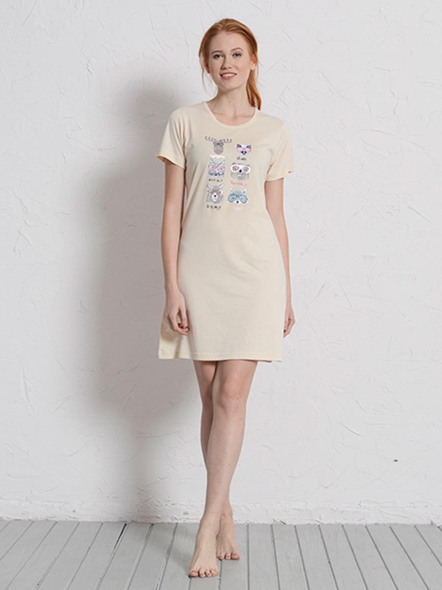 Платье домашнее Vienettas Secret, цвет: светло-бежевый. 608142 0000. Размер M (46)608142 0000Домашнее платье Vienettas Secret выполнено из 100% натурального хлопка. Изделие имеет круглый вырез горловины, стандартные короткие рукава и длину мини. Модель прямого кроя не стесняет движений и комфортна для домашней носки. Платье выполнено в однотонном дизайне и дополнено забавным изображением животных в очках.