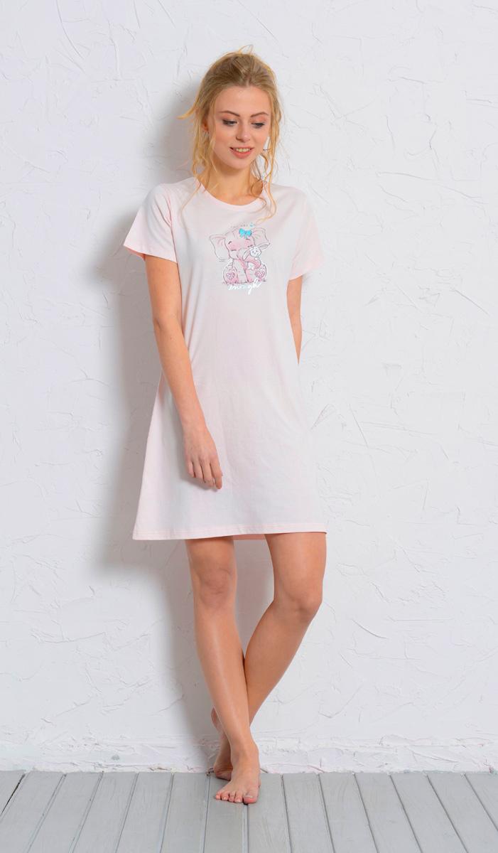 Платье домашнее Vienettas Secret, цвет: светло-розовый. 608126 0000. Размер S (44)608126 0000Домашнее платье Vienettas Secret выполнено из 100% натурального хлопка. Изделие имеет круглый вырез горловины, стандартные короткие рукава и длину мини. Модель прямого кроя не стесняет движений и комфортна для домашней носки. Платье выполнено в однотонном дизайне и дополнено забавным изображением слоника.