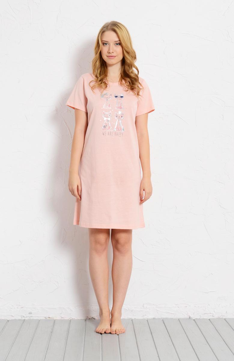 Платье домашнее Vienettas Secret, цвет: светло-розовый. 608130 0000. Размер M (46)608130 0000Домашнее платье Vienettas Secret выполнено из 100% натурального хлопка. Изделие имеет круглый вырез горловины, стандартные короткие рукава и длину миди. Модель прямого кроя не стесняет движений и комфортна для домашней носки. Платье выполнено в однотонном дизайне и дополнено забавным изображением кошек и собак.