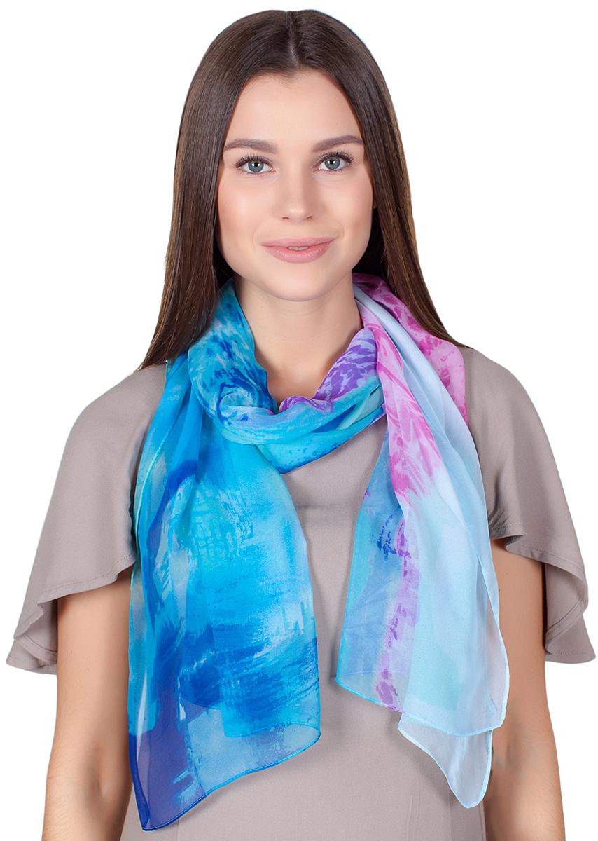 Шарф женский Sophie Ramage, цвет: голубой, сиреневый. QA-11708-1. Размер 50 см х 165 смQA-11708-1Стильный шарф Sophie Ramage изготовлен из шелка и полиэстера. Модель оформлена оригинальным принтом. Изделия Sophie Ramage приятные на ощупь и подойдут к любому стилю.