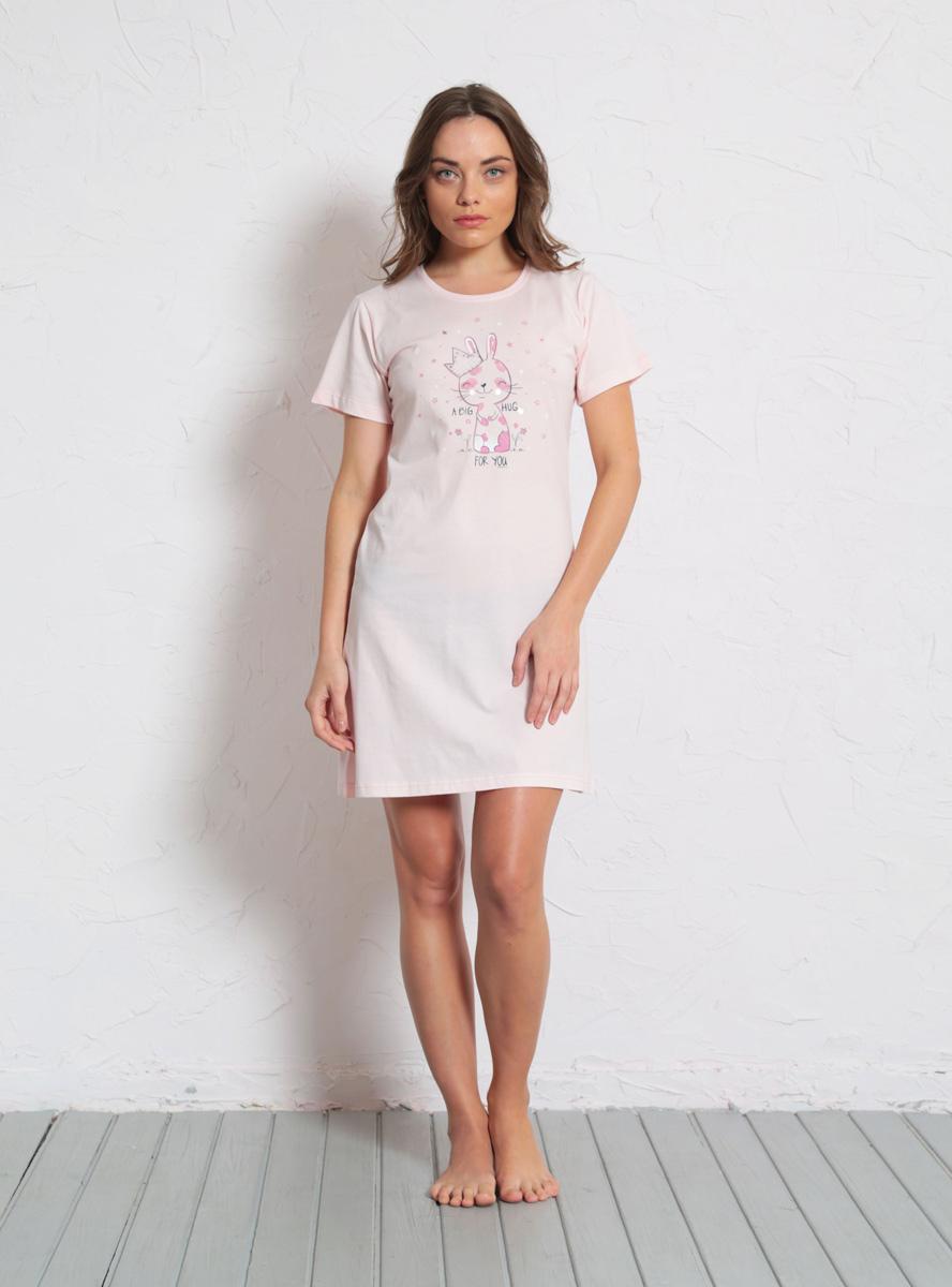 Платье домашнее Vienettas Secret, цвет: светло-розовый. 608135 0000. Размер XL (50)608135 0000Домашнее платье Vienettas Secret выполнено из 100% натурального хлопка. Изделие имеет круглый вырез горловины, стандартные короткие рукава и длину мини. Модель прямого кроя не стесняет движений и комфортна для домашней носки. Платье выполнено в однотонном дизайне и дополнено забавным изображением зайчика.