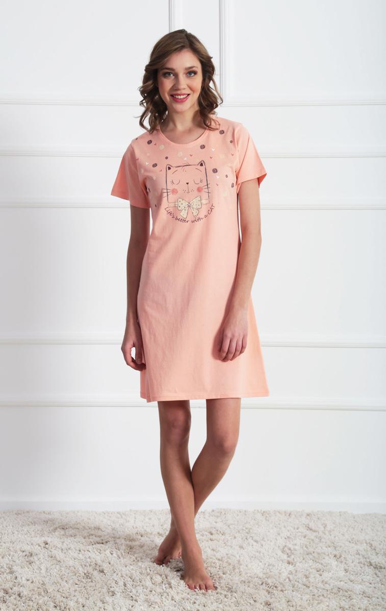 Платье домашнее Vienettas Secret, цвет: светло-розовый. 611116 0000. Размер XL (50)611116 0000Домашнее платье Vienettas Secret выполнено из 100% натурального хлопка. Изделие имеет круглый вырез горловины, стандартные короткие рукава и длину мини. Модель прямого кроя не стесняет движений и комфортна для домашней носки. Платье выполнено в однотонном дизайне и дополнено изображением забавного кота.