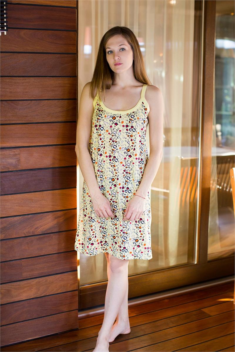 Платье домашнее Vienettas Secret, цвет: светло-желтый. 411034 4016. Размер XXXXL (56)411034 4016Домашнее платье Vienettas Secret выполнено из 100% натурального хлопка. Изделие на бретельках имеет декольте с круглым вырезом и длину мини. Модель свободного кроя не стесняет движений и комфортна для домашней носки. Платье дополнено ярким принтом.