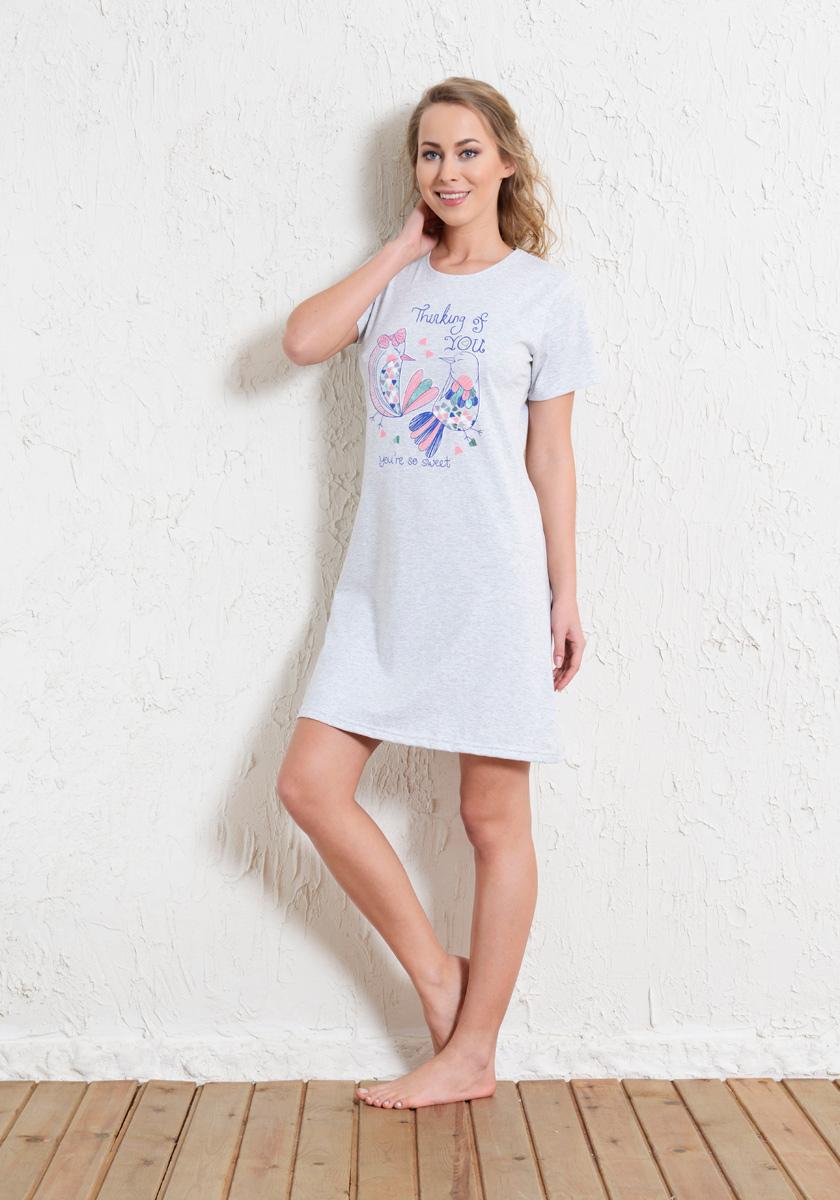 Платье домашнее Vienettas Secret, цвет: серый меланж. 601005 5571. Размер L (48)601005 5571Домашнее платье Vienettas Secret выполнено из 100% натурального хлопка. Изделие имеет круглый вырез горловины, стандартные короткие рукава и длину мини. Модель прямого кроя не стесняет движений и комфортна для домашней носки. Платье выполнено в однотонном дизайне и дополнено изображением птиц.