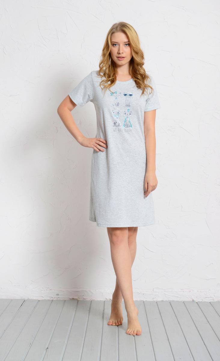 Платье домашнее Vienettas Secret, цвет: серый меланж. 608130 0000. Размер L (48)608130 0000Домашнее платье Vienettas Secret выполнено из 100% натурального хлопка. Изделие имеет круглый вырез горловины, стандартные короткие рукава и длину миди. Модель прямого кроя не стесняет движений и комфортна для домашней носки. Платье выполнено в однотонном дизайне и дополнено забавным изображением кошек и собак.