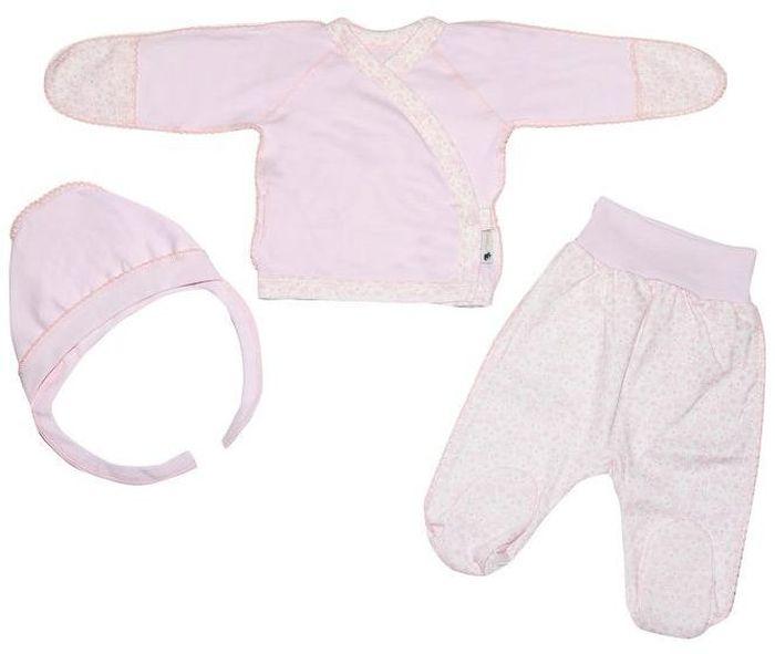 Комплект для девочки Клякса: кофточка, ползунки, чепчик, цвет: экрю, розовый. 33к-5182. Размер 5633к-5182Детский комплект Клякса состоит из кофточки, чепчика и ползунков. Комплект выполнен из натурального хлопка. Кофточка с длинными рукавами застегивается спереди на кнопку. Ползунки с закрытыми ножками имеют широкую эластичную резинку на поясе. Чепчик дополнен удобными завязками.