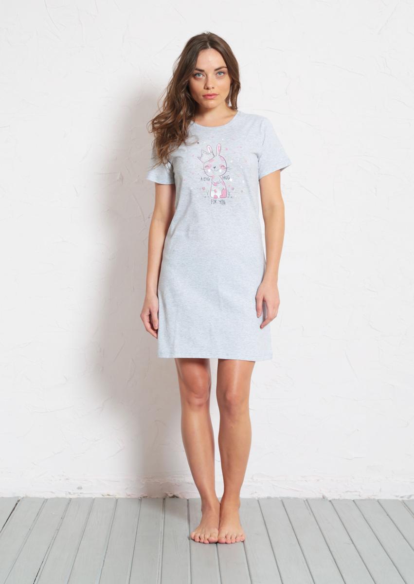 Платье домашнее Vienettas Secret, цвет: серый меланж. 608135 0000. Размер S (44)608135 0000Домашнее платье Vienettas Secret выполнено из 100% натурального хлопка. Изделие имеет круглый вырез горловины, стандартные короткие рукава и длину мини. Модель прямого кроя не стесняет движений и комфортна для домашней носки. Платье выполнено в однотонном дизайне и дополнено забавным изображением зайчика.