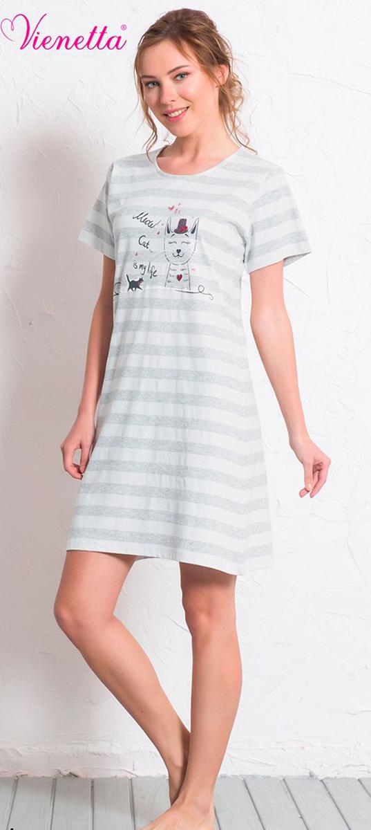 Платье домашнее Vienettas Secret, цвет: серый меланж. 608141 0000. Размер L (48)608141 0000Домашнее платье Vienettas Secret выполнено из 100% натурального хлопка. Изделие имеет круглый вырез горловины, стандартные короткие рукава и длину мини. Модель прямого кроя не стесняет движений и комфортна для домашней носки. Платье оформлено принтом в полоску и дополнено изображением забавного кота.