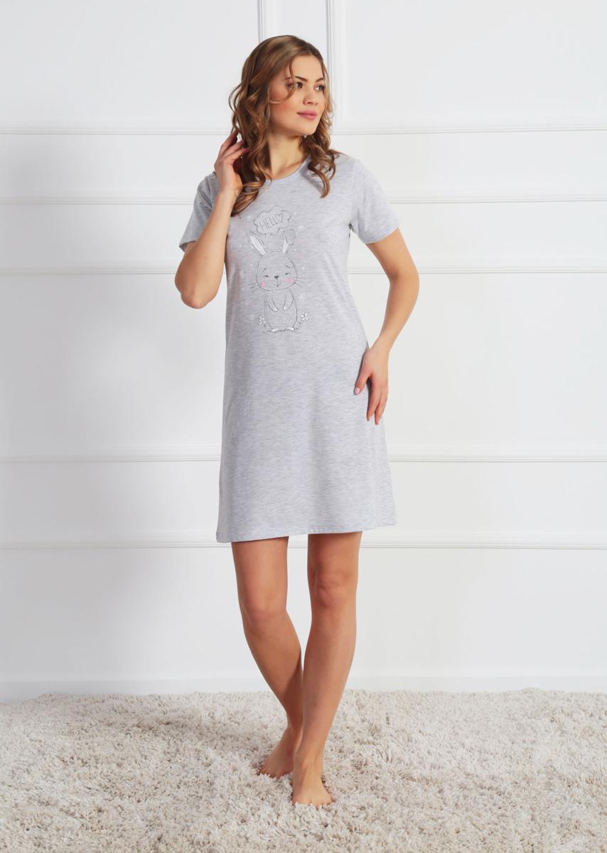 Платье домашнее Vienettas Secret, цвет: серый меланж. 610224 0000. Размер XL (50)610224 0000Домашнее платье Vienettas Secret выполнено из 100% натурального хлопка. Изделие имеет круглый вырез горловины, стандартные короткие рукава и длину мини. Модель прямого кроя не стесняет движений и комфортна для домашней носки. Платье выполнено в однотонном дизайне и дополнено забавным изображением зайчика.