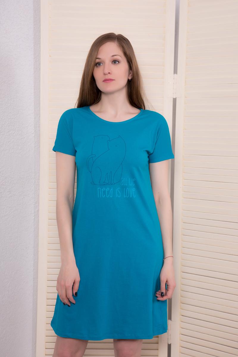 Платье домашнее Violett, цвет: бирюзовый. 17110734. Размер M (46)17110734Домашнее платье Violett выполнено из натурального хлопка. Платье-миди с круглым вырезом горловины и короткими рукавами оформлено стильным принтом.