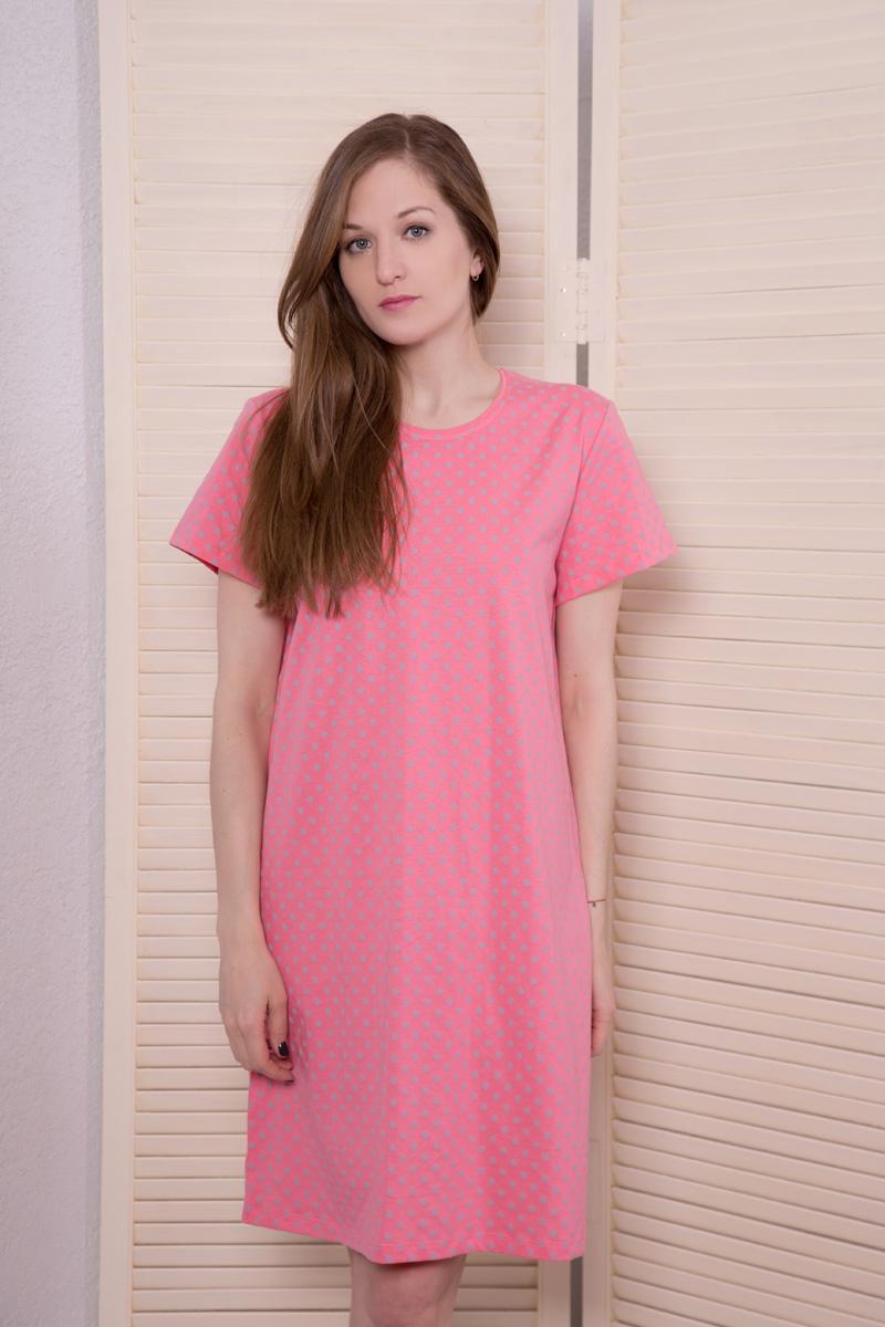 Платье домашнее Violett, цвет: коралловый, серый. 17110811. Размер XXXL (54)17110811Домашнее платье Violett выполнено из натурального хлопка. Платье-миди с круглым вырезом горловины и короткими рукавами оформлено стильным принтом.