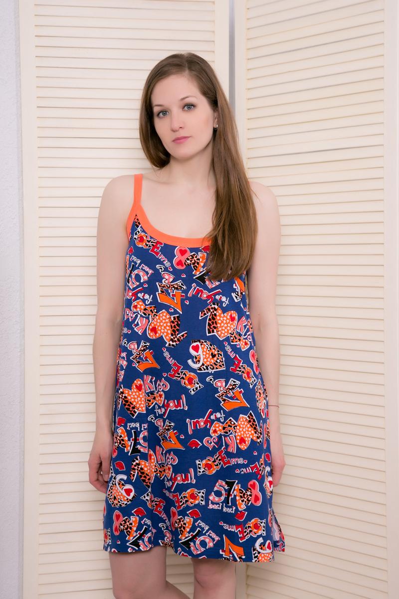 Платье домашнее Vienettas Secret, цвет: синий, оранжевый. 9510001/1. Размер XXL (52)9510001/1Домашнее платье Vienettas Secret выполнено из 100% натурального хлопка. Изделие на бретельках имеет декольте с круглым вырезом и длину мини. Модель не стесняет движений и комфортна для домашней носки. Платье украшено ярким принтом.