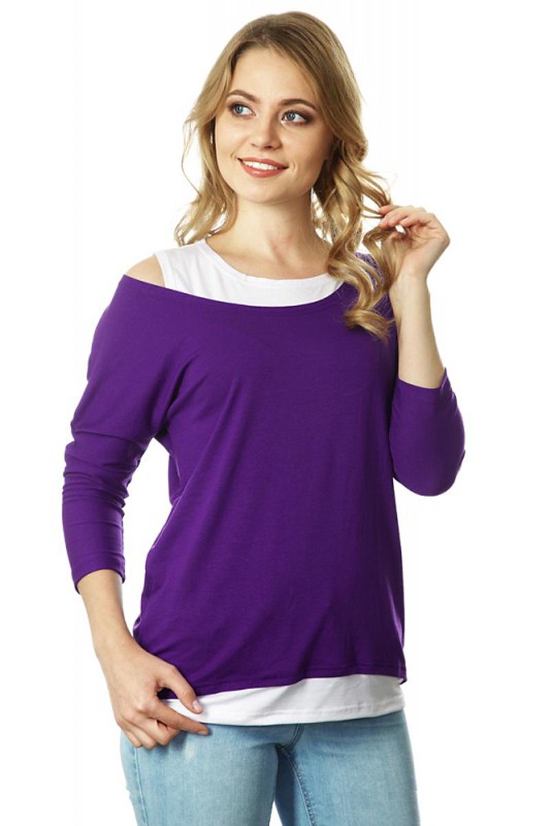 Блузка для беременных и кормящих Mum's Era Адель, цвет: фиолетовый, белый. 35485. Размер S (44) mum s era многоразовый подгузник цвет сиреневый 2 вкладыша