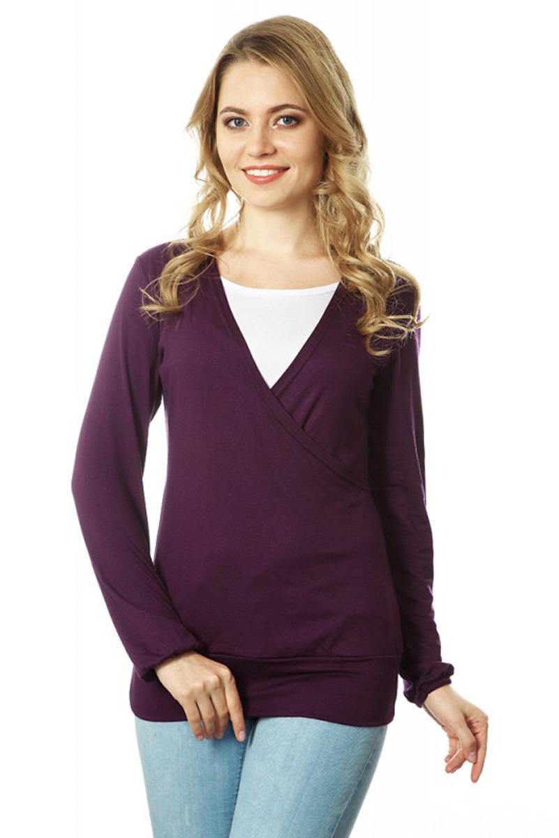 Блузка для беременных и кормящих Mums Era Индиана, цвет: фиолетово-бордовый, белый. 35488. Размер S (44)35488Блуза для беременных и кормящих Mums Era исполнена из вискозы с добавлением лайкры, что делает изделие нежным к телу и эластичным. Имеет длинные рукава и мягкую текстильную широкую резинку по низу, не позволяющую изделию задираться. Отлично подойдет для жаркой погоды и теплых помещений. В ней удобно заниматься активными видами деятельности: прогулками с малышом, спортом, домашними делами, сверху имеется секрет для кормления. Дополненная стильными аксессуарами, она станет незаменимой деталью вашего гардероба. Дизайн блузки создает эффект 2 в 1.