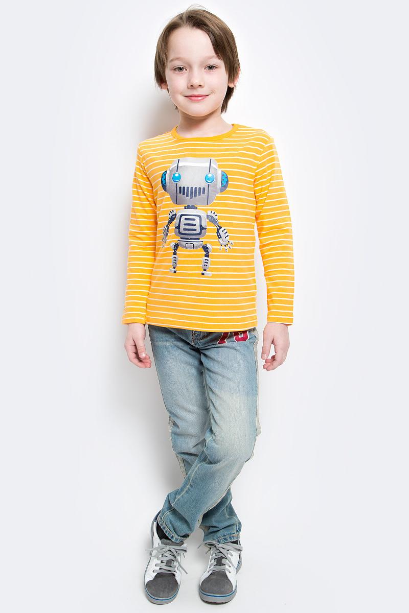 Лонгслив для мальчика PlayToday, цвет: оранжевый. 361074. Размер 128361074Уютный полосатый лонгслив для мальчика выполнен из органического хлопка и оформлен резиновым принтом с изображением забавного робота. Воротник дополнен мягкой эластичной бейкой. Яркий цвет модели позволяет создавать стильные образы.